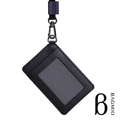 BAGMIO vigor 牛皮直式雙卡證件套 墨黑 附織帶