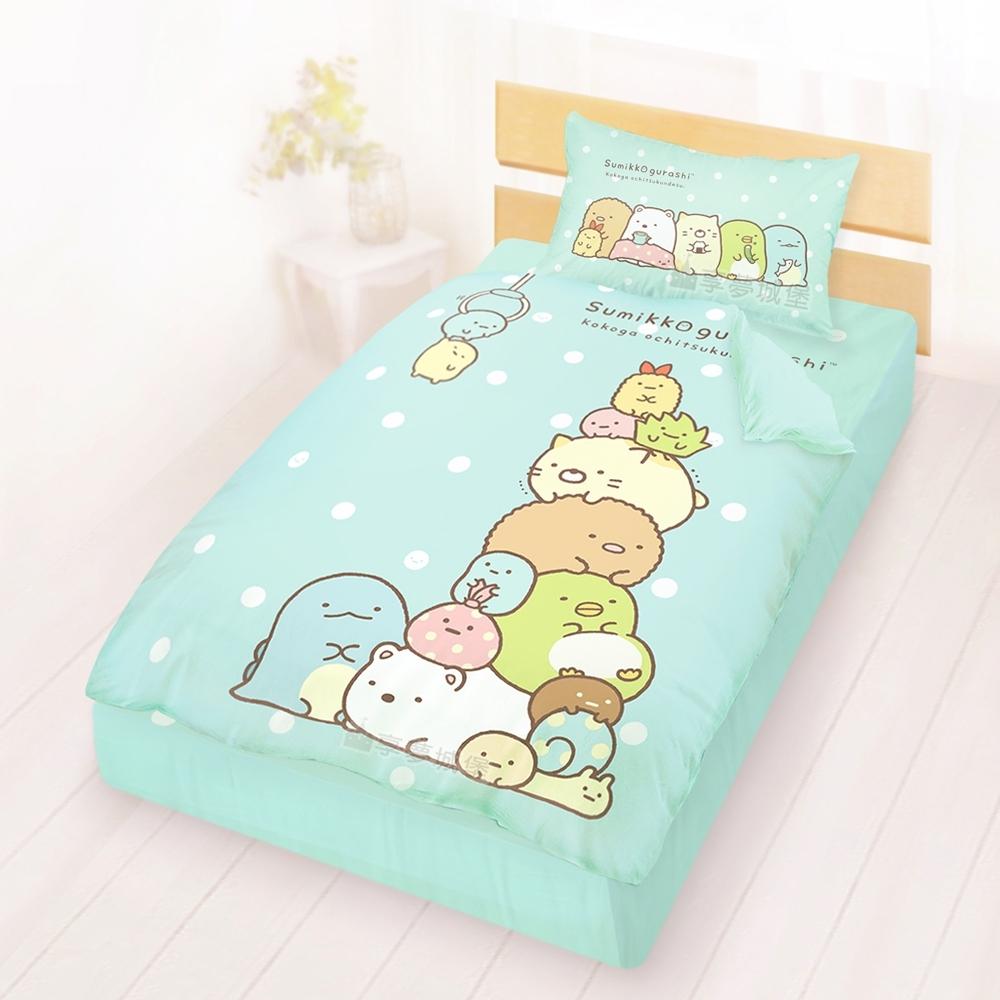 享夢城堡 單人床包涼被三件組-角落小夥伴 夾夾樂-粉橘.藍綠 product image 1
