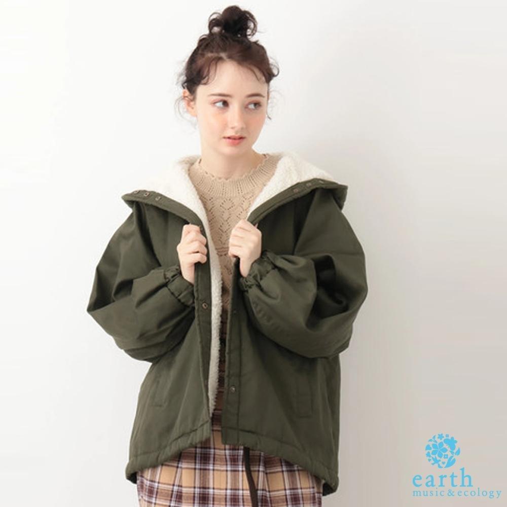 earth music 溫暖感鋪毛連帽剪裁大衣外套