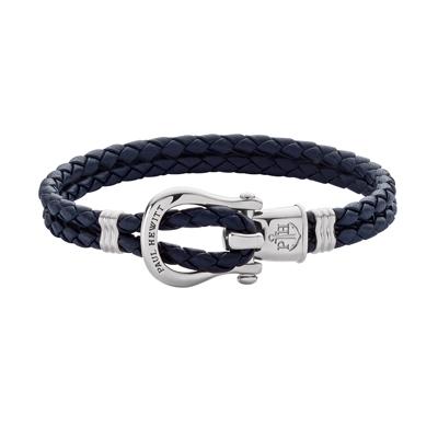 PAUL HEWITT  PHINITY 銀色馬蹄釦編織系列手環-海軍藍