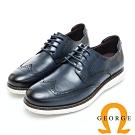 GEORGE 喬治皮鞋 輕量系列 經典漸層雕花綁帶厚底休閒鞋-藍色