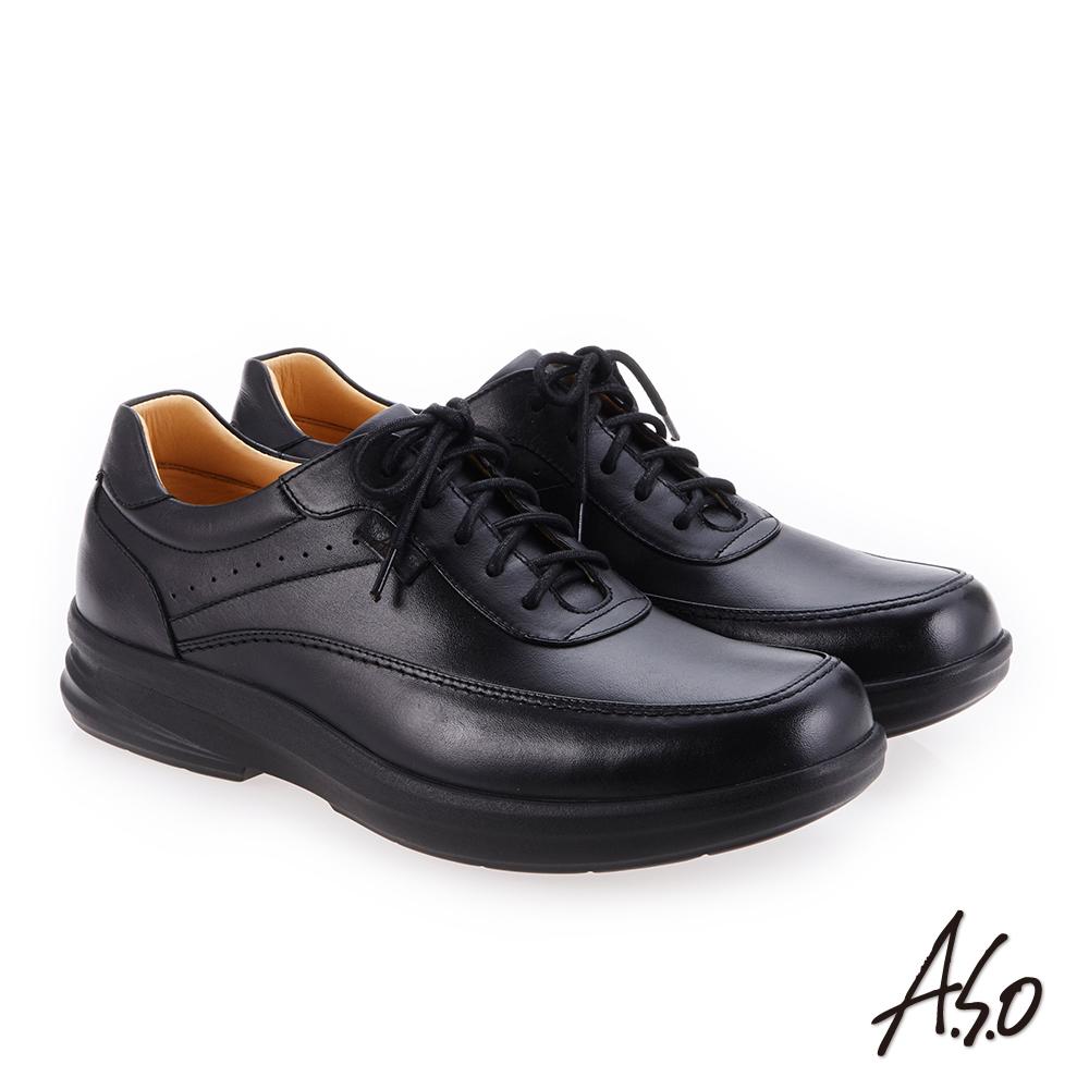 A.S.O 厚切超動力 綁帶奈米氣墊休閒皮鞋 黑