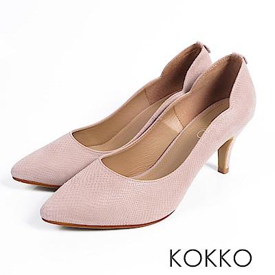 KOKKO - 精品手感波浪尖頭羊皮高跟鞋- 溫暖裸