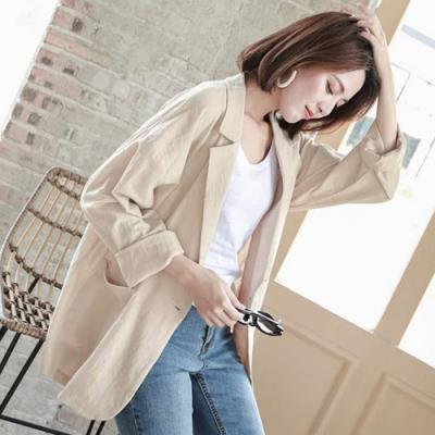 La Belleza素色翻領雙口袋棉麻料一粒釦木釦西裝外套