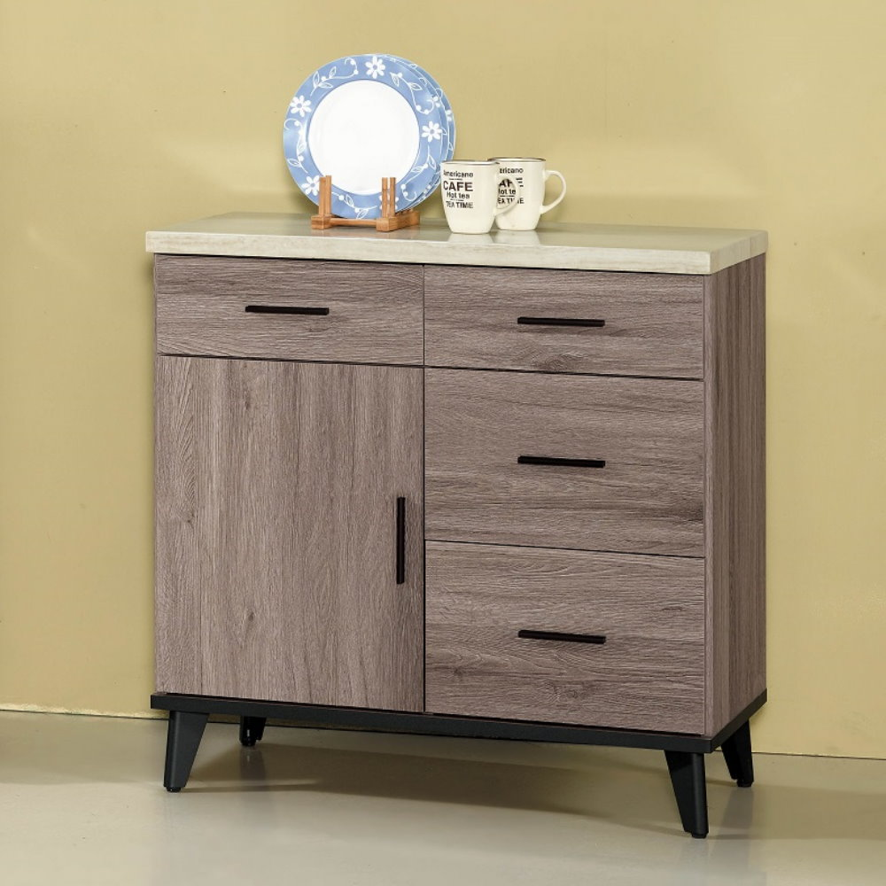 MUNA 麥汀娜古橡木2.7尺仿石面餐櫃(碗盤櫃)下座  81.3X43X81.4cm