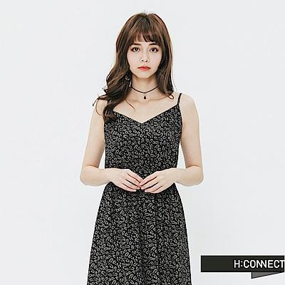 H:CONNECT 韓國品牌 女裝-花樣細肩縮腰洋裝-黑