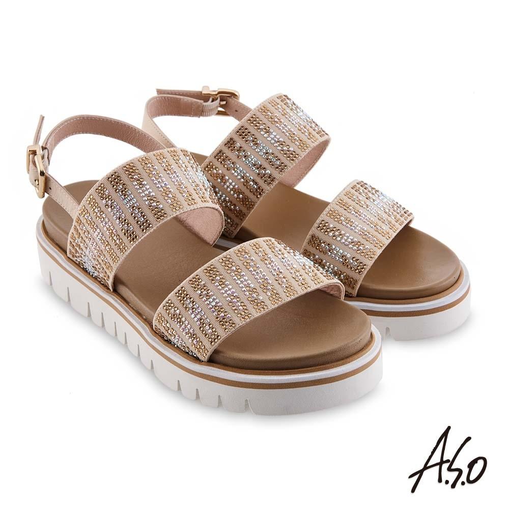 A.S.O時尚流行 夏季輕量漸層燙鑽休閒底台涼鞋-卡其