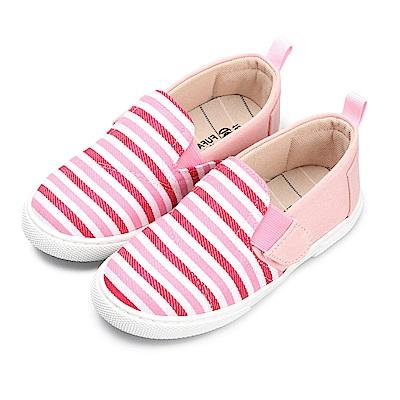 BuyGlasses 就愛條紋控兒童懶人鞋-粉
