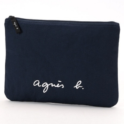agnes b. Voyage 大型草寫LOGO帆布隨身小包 (深藍)