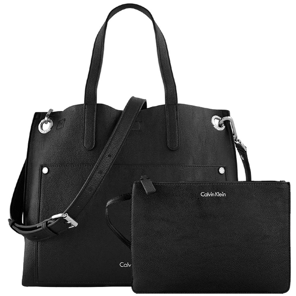Calvin Klein 黑色皮革斜背/托特兩用包-大型(附手拿包)