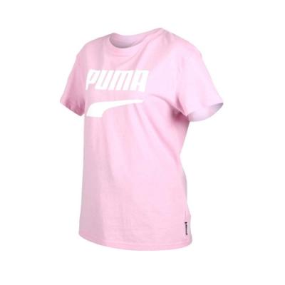 PUMA DOWNTOWN 女流行系列短袖T恤-慢跑 路跑 短T 粉紅白