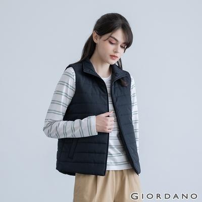 GIORDANO 女裝素色立領鋪棉背心 - 09 標誌黑