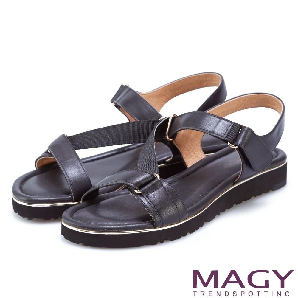 MAGY 樂活夏日 經典斜帶真皮平底涼鞋-黑色