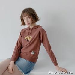 GIORDANO 女裝Retro Wave復古印花連帽T恤-31 黑褐色