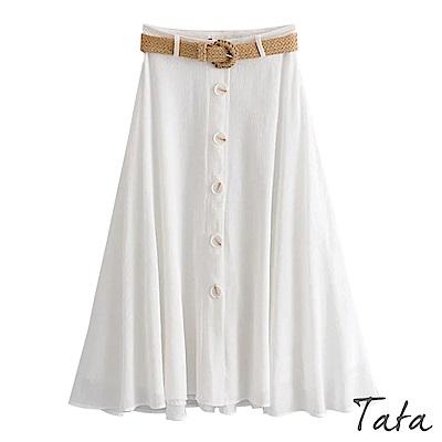 麻編腰帶排扣裙 TATA