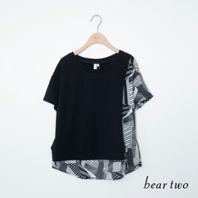 beartwo-不對稱抽象圖騰上衣-黑