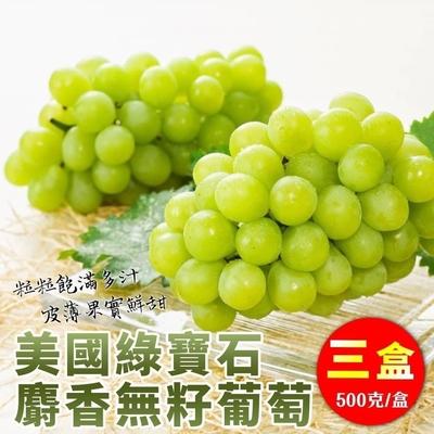 【天天果園】美國無籽綠寶石葡萄3盒(每盒約500g)