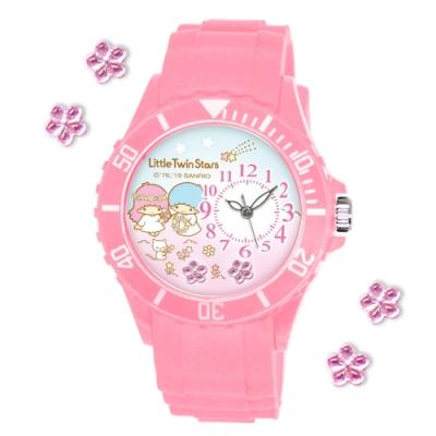Sanrio三麗鷗偏機芯貼鑽系列運動彩帶錶-KIKI LALA雙星仙子40mm粉紅色