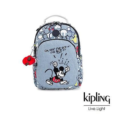 Kipling 米奇系列 丹寧俏皮米奇印花機能手提後背包-D SEOUL GO S
