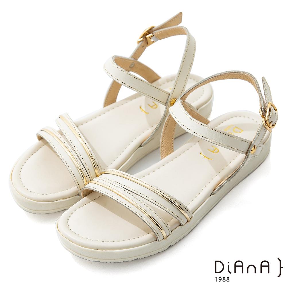 DIANA 2.5cm質感牛皮金屬繞帶一字厚底涼鞋-夏日風情-奶油白