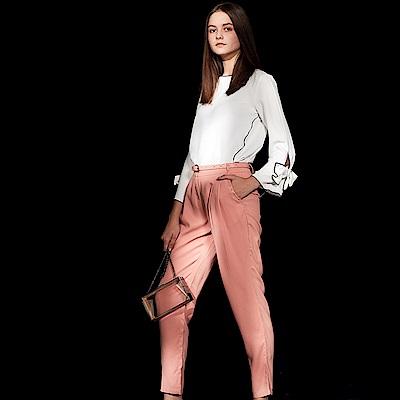Chaber巧帛 知性簡約百搭必備造型長褲-粉藕色