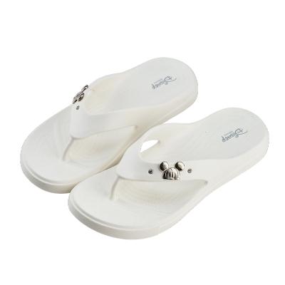 迪士尼親子鞋 米奇 輕量大人夾腳拖鞋-白