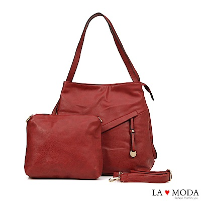 La Moda超柔軟皮質大容量肩背斜背子母包(紅)