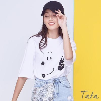 狗狗臉譜寬鬆T恤上衣 TATA