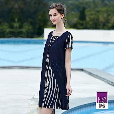 ILEY伊蕾 活片造型假兩件條紋洋裝(藍)