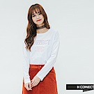 H:CONNECT 韓國品牌 女裝-清新logo印字長袖T-shirt-白