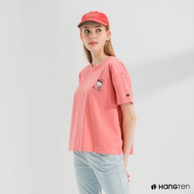 Hang Ten-女裝-Sanrio厚磅HOPE短袖T恤-粉紅色