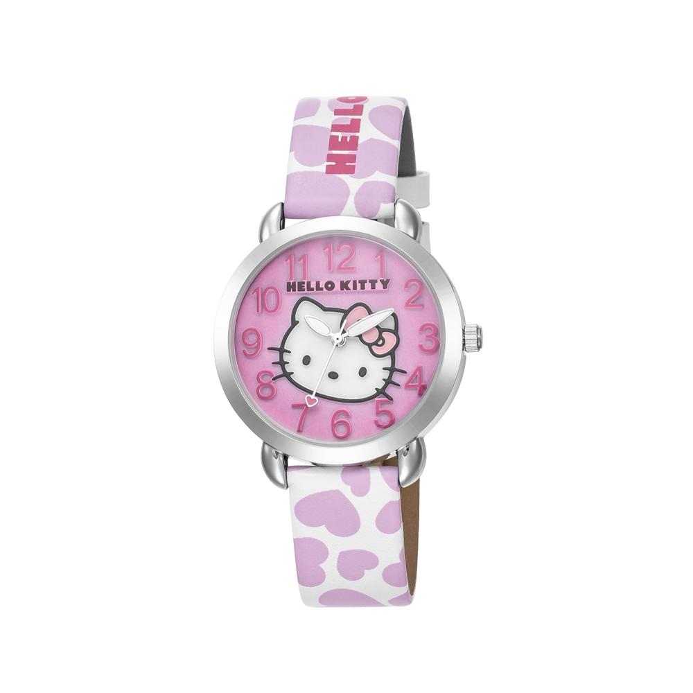 HELLO KITTY 凱蒂貓 繽紛愛心立體貓頭手錶 白粉x粉面/36mm