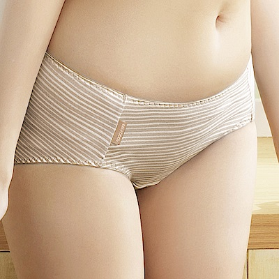 推easybody-條紋塗鴉趣 中腰平口褲(條紋可可)