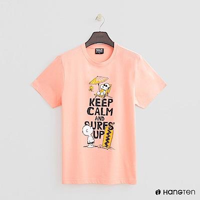 Hang Ten - 男裝 - Charlie Brown-海灘印花T恤 - 粉橘