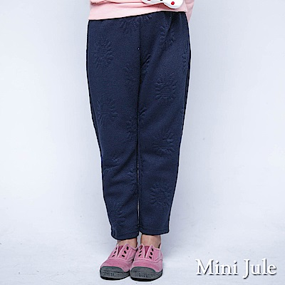 Mini Jule 褲子 花朵橫線滿版鬆緊厚棉長褲(寶藍)