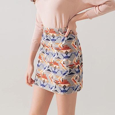 AIR SPACE 幾何圖騰針織短裙(藍) @ Y!購物