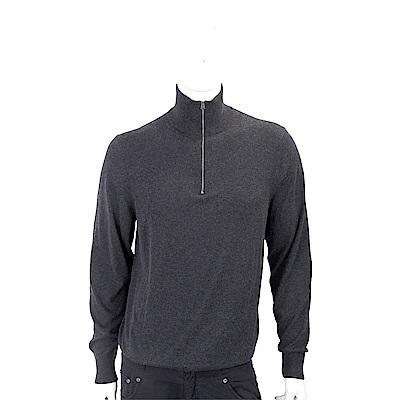 BURBERRY 格紋細節炭灰色喀什米爾拉鍊套頭羊毛衫(男裝)