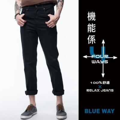鬼洗 BLUE WAY-機能系x天絲棉中腰直筒褲(黑)