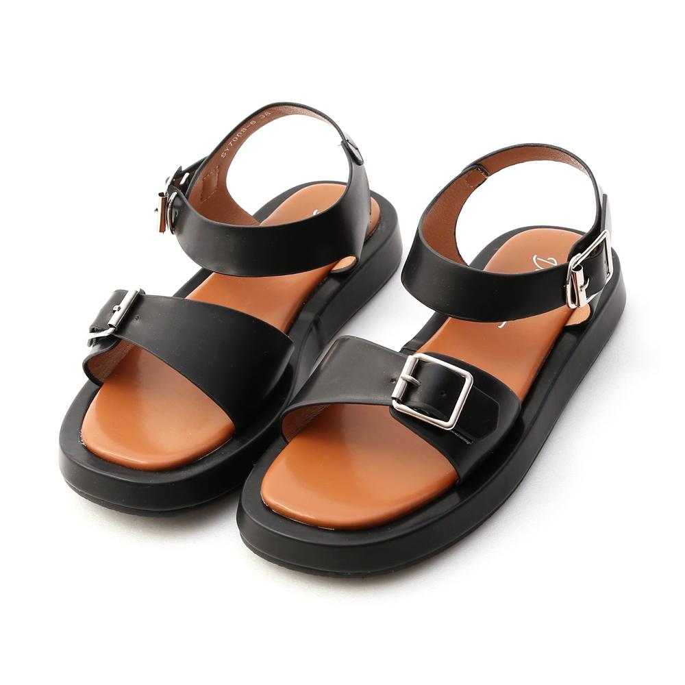 D+AF 獨創質感.雙釦環厚底涼鞋*黑