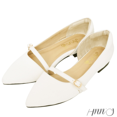 Ann'S完美對策-可調寬度側空尖頭平底鞋-白