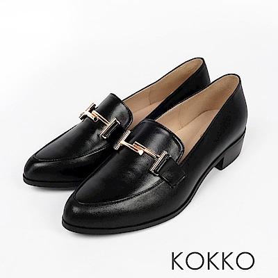 KOKKO - 薇多莉亞真皮舒壓尖頭粗跟鞋- 曙光鳴黑