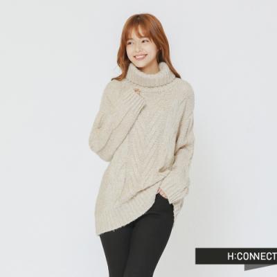 H:CONNECT 韓國品牌 女裝 - 翻領麻花針織毛衣-卡其(快)