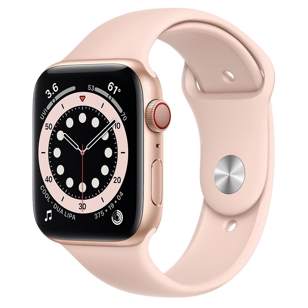 Apple Watch Series 6 (GPS+行動網路) 44mm 金色鋁金屬錶殼+粉沙色錶帶(MG2D3TA/A)