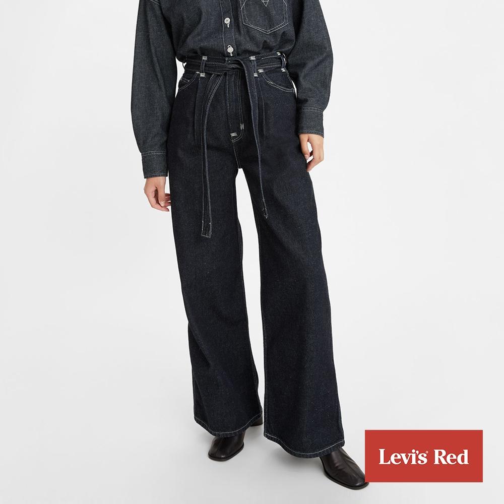 Levis Red 工裝手稿風復刻再造 女款 中腰打摺牛仔大寬褲 腰間綁帶設計 黑藍基本款 寒麻纖維