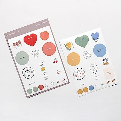 Dash and Dot 法式風格插畫手帳貼紙(2入)