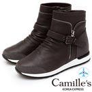 Camille's 韓國空運-造型拼接側拉鍊運動短靴-深灰