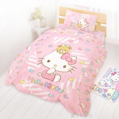 享夢城堡 單人床包雙人涼被三件組-HELLO KITTY 糖果熊-粉.綠