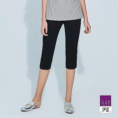 ILEY伊蕾 彈力修身減齡造型六分褲(黑)