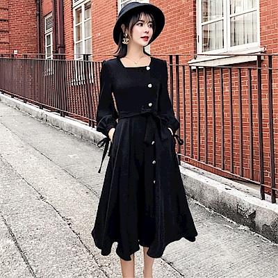 DABI 韓系復古氣質修身單排扣長裙長袖洋裝