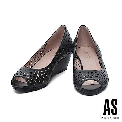 高跟鞋 AS 清新雅緻沖孔造型羊皮魚口高跟楔型高跟鞋-黑